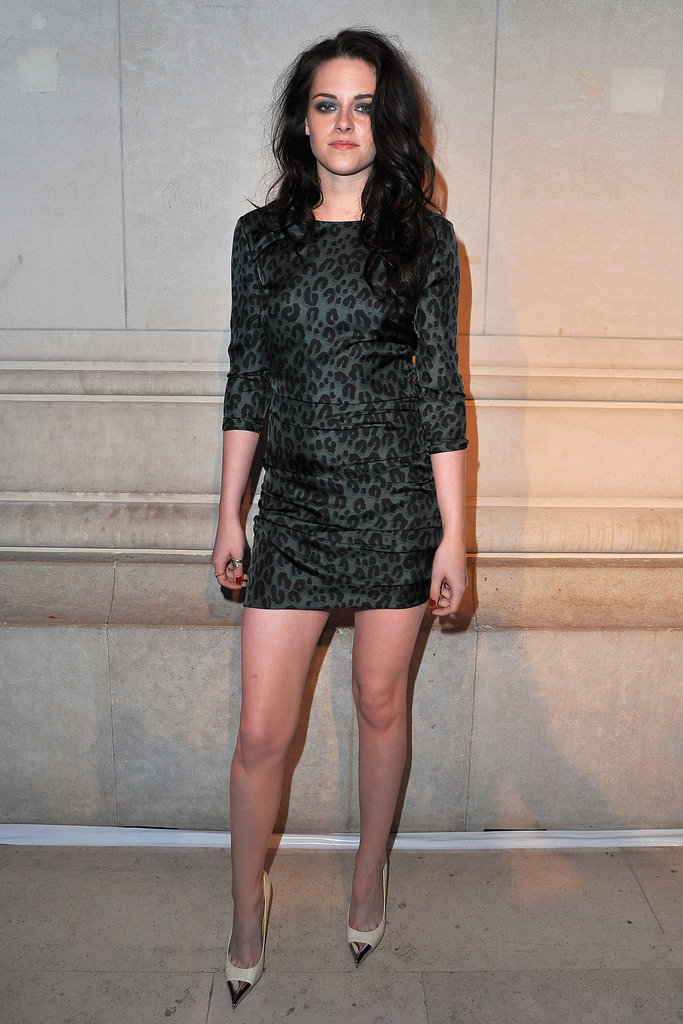 Kristen Stewart vamped it up in a cheetah-print minidress and cap-toe pumps.