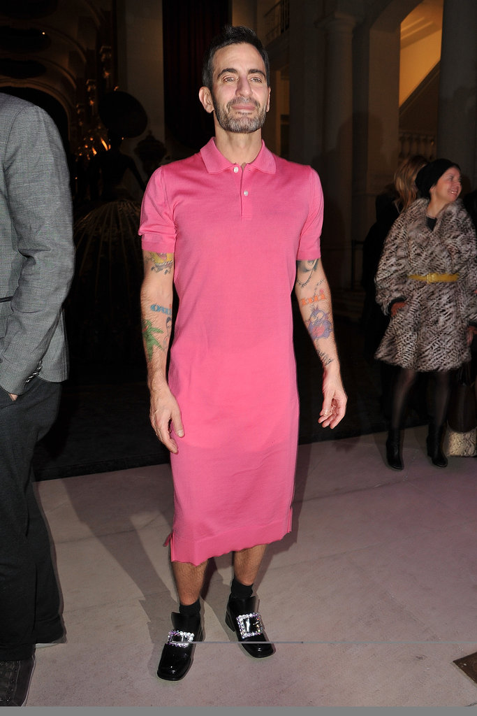 Even Marc Jacobs donned a dress — a pink one, in fact — with his signature pilgrim-inspired shoes.