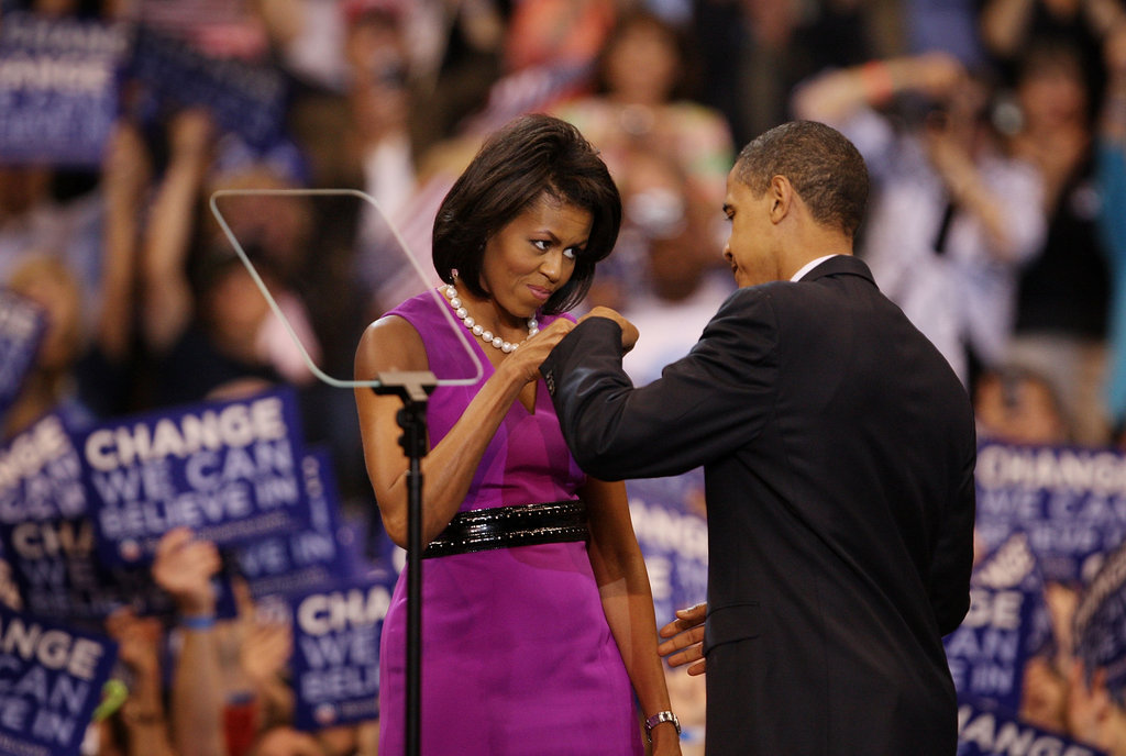 Barack and Michelle share the infamous fist bump in June 2008.