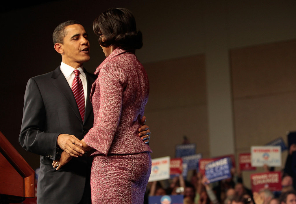Barack gives Michelle a look of love after winning the South Carolina primary.