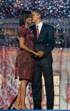 Barack gave Michelle a kiss after his big speech in Denver.