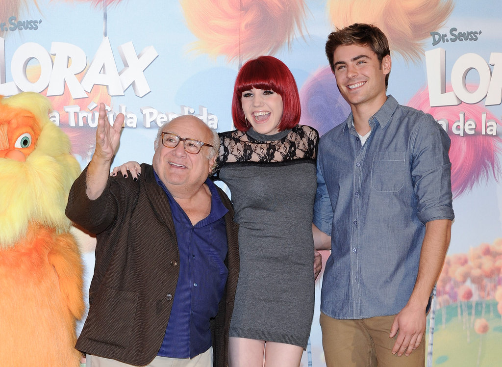 Zac Efron, Danny DeVito, and Angy promoting The Lorax in Spain.