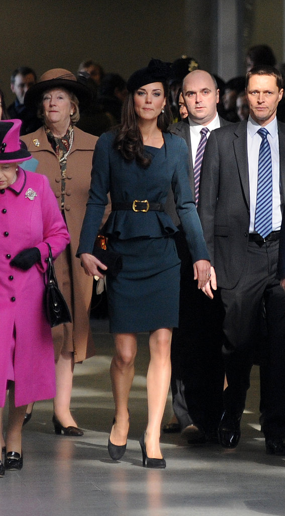 Kate Middleton boarded a train.