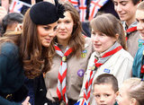 Kate Middleton greeted people in Leicester.