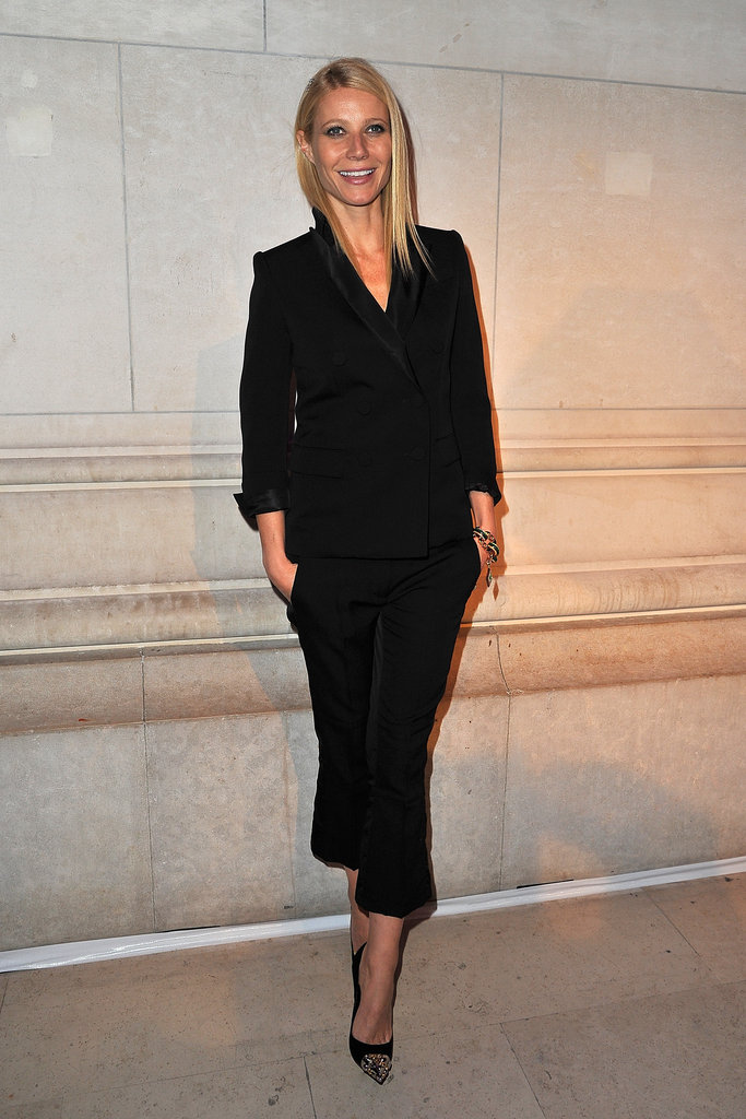 Gwyneth Paltrow showed off her easy, menswear-inspired Louis Vuitton Pre-Fall 2012 suit at Marc Jacobs: The Exhibition in Paris.
