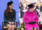 The Duchess of Cambridge and the queen took in a university fashion show.