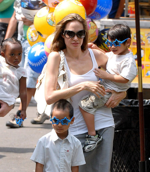 Zahara, Maddox, and Pax Jolie-Pitt With Mom Angelina Jolie