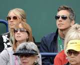 Christine Taylor and Ben Stiller watched tennis.