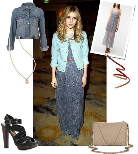 Emma Roberts in Maxi and Denim
