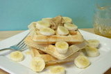Peanut Butter Waffles with bananas and honey