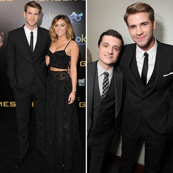Liam Hemsworth, Josh Hutcherson and Miley Cyrus Sexy Emilio Pucci Outfit Pictures at The Hunger Games Premiere