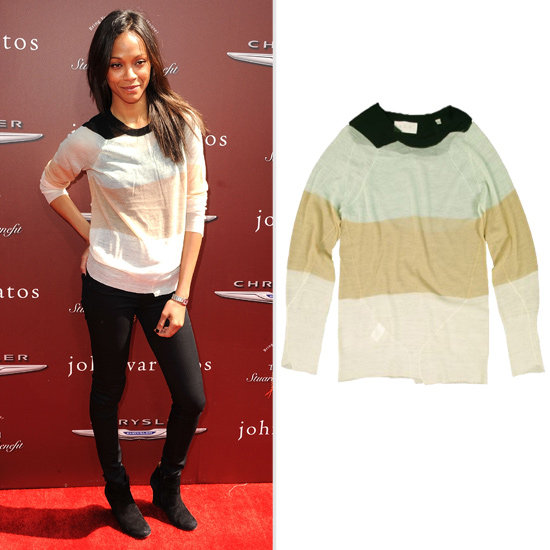 Who Makes Zoe Saldana's Sheer Striped Sweater?