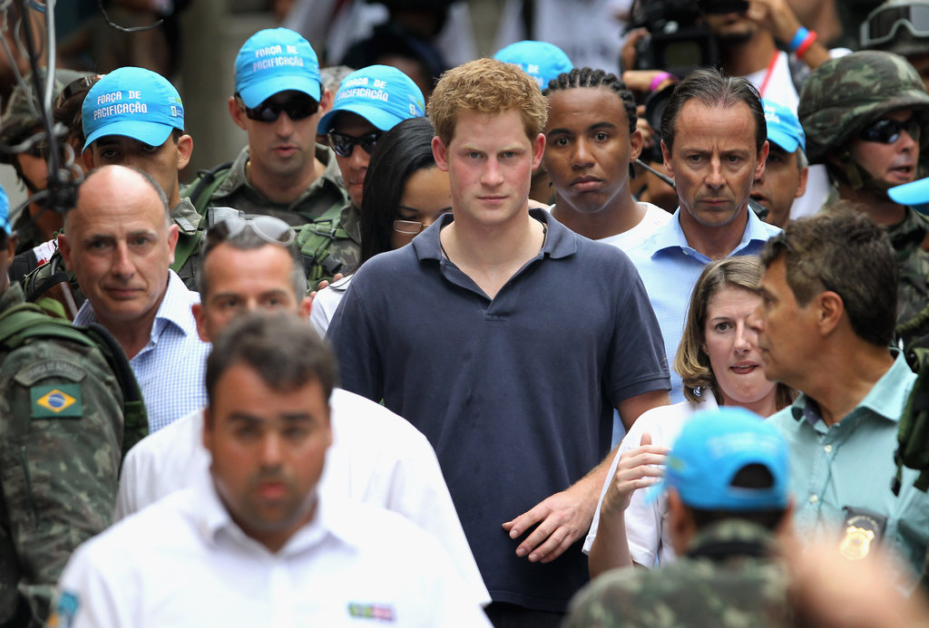 Prince Harry visits the Favela in Rio.