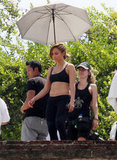 J Lo Rocks a Sports Bra on the Set of Her New Video With Casper Smart