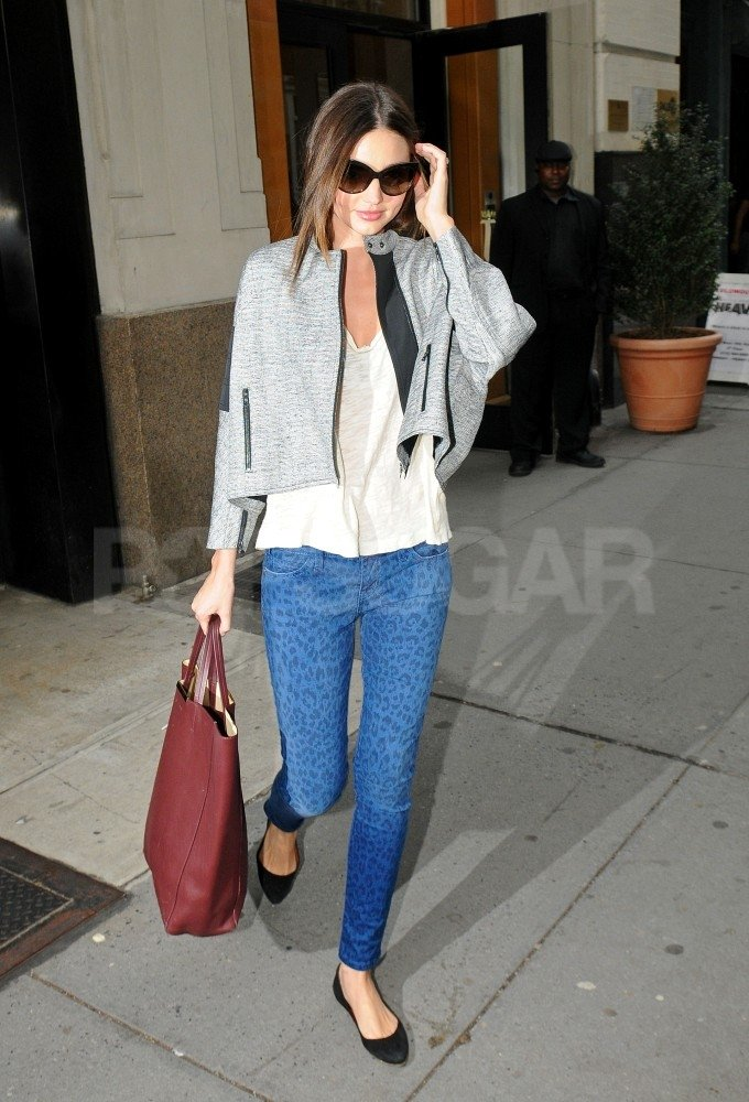 Miranda Kerr kept warm in a gray jacket.