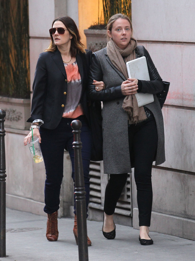 Drew Barrymore left her hotel in Paris.