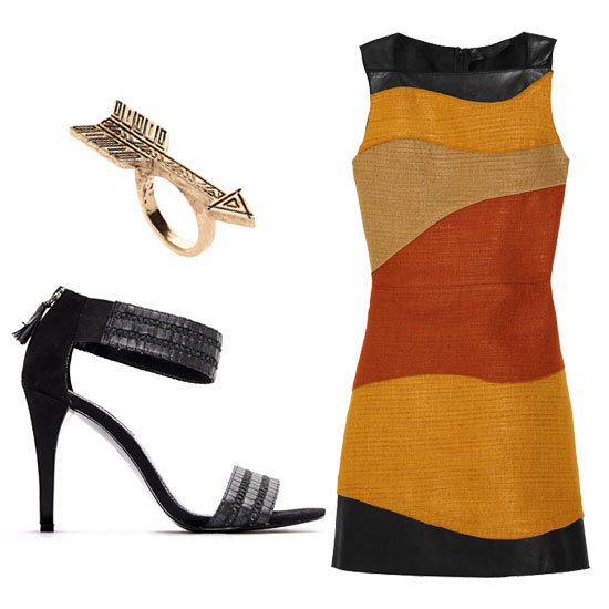 If you're looking to make a big statement, don a worldly woven dress with simple heels and an equally eye-catching ring.  House of Harlow Plated Antiqued Arrow Ring ($55), Mango Ankle-Strap Sandal ($59), Proenza Schouler Leather and Woven Dress ($2,495)