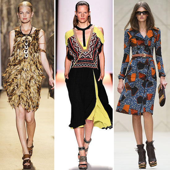 Global-inspired Spring runway looks from Michael Kors, BCBG Max Azria, and Burberry Prorsum.