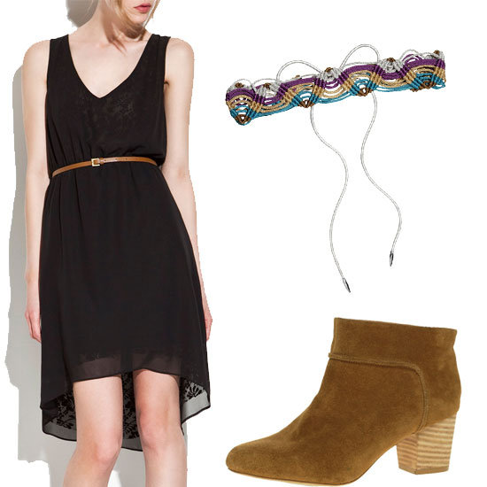 Sometimes, all you need is one piece to emote an exotic look. Simply update an LBD with a colorful woven belt and ankle boots for a new take on the nomad.  Zara Black Lace Dress ($60), Missoni Woven Metallic Crochet-Knit Belt ($575), Aqua Suede Ankle Boots ($90)