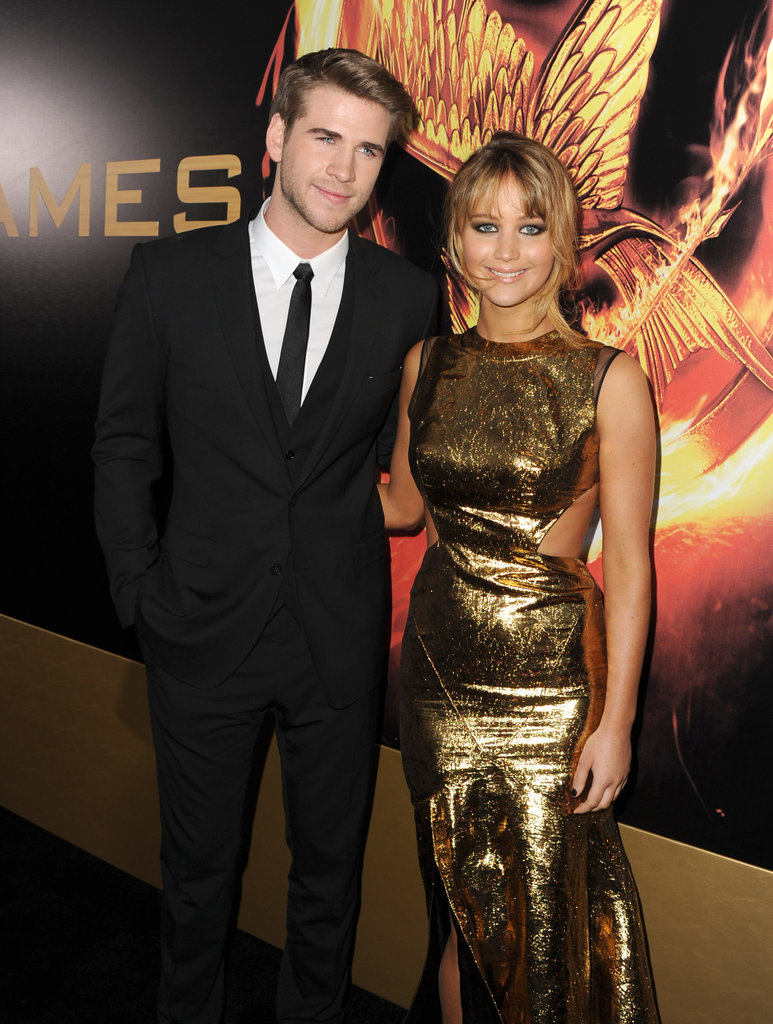 Liam Hemsworth and Jennifer Lawrence get even more gorgeous at the world premiere of The Hunger Games when you look at them in a magnified view. Did you notice the sheer detail on Jennifer's Prabal Gurung dress?
