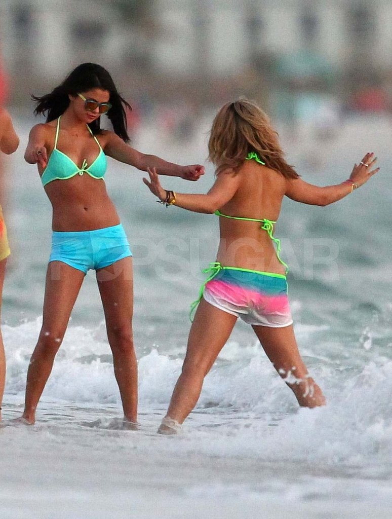 Selena Gomez on the beach in a bikini.