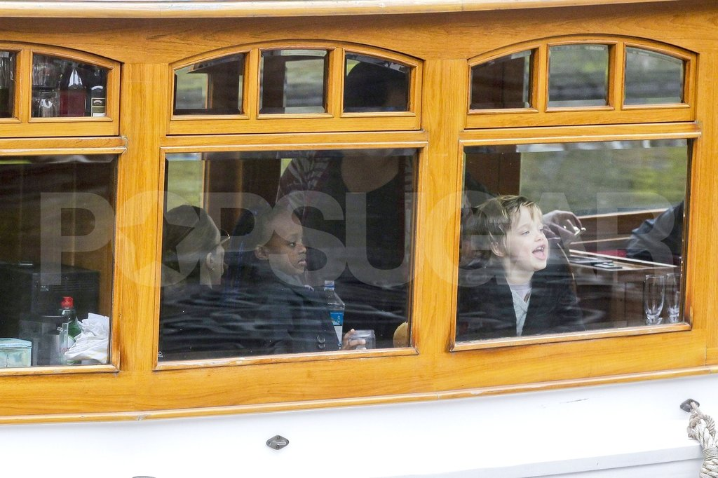 Shiloh Jolie-Pitt and Zahara Jolie-Pitt joked on a canal boat.