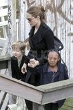 Angelina Jolie got off an Amsterdam canal boat with Shiloh Jolie-Pitt and Zahara Jolie-Pitt.