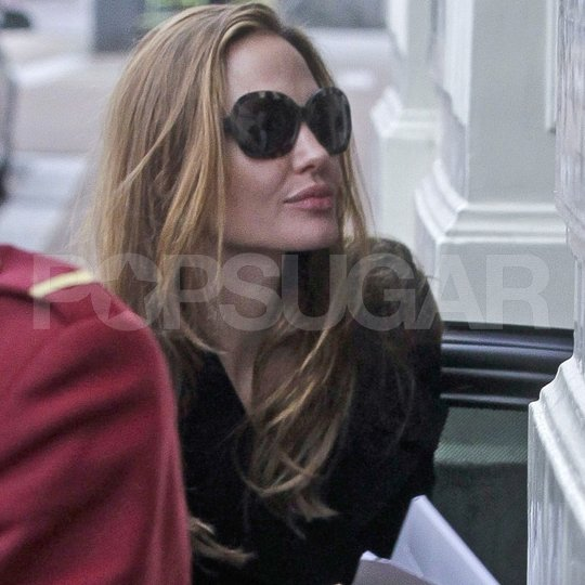 Angelina Jolie wore sunglasses in Amsterdam.