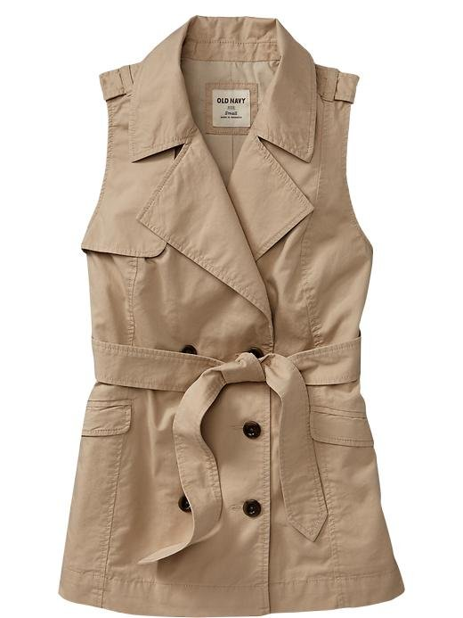 Mark our words: you'll be wearing this sleeveless trench over everything.  Old Navy Sleeveless-Twill Trench Vest ($35)