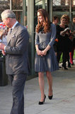 Kate Middleton in a gray Orla Keily dress.