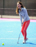 Kate Middleton showing off her hockey skills in London's Olympic Park.
