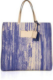Reed Krakoff Leather-Trimmed Python-Print Canvas Tote ($540)