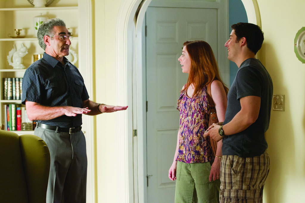 Eugene Levy as Jim's dad, Alyson Hannigan as Michelle, and Jason Biggs as Jim in American Reunion.  Photo courtesy of Universal Pictures
