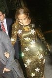 Jennifer Lopez wore a gold sequin dress.