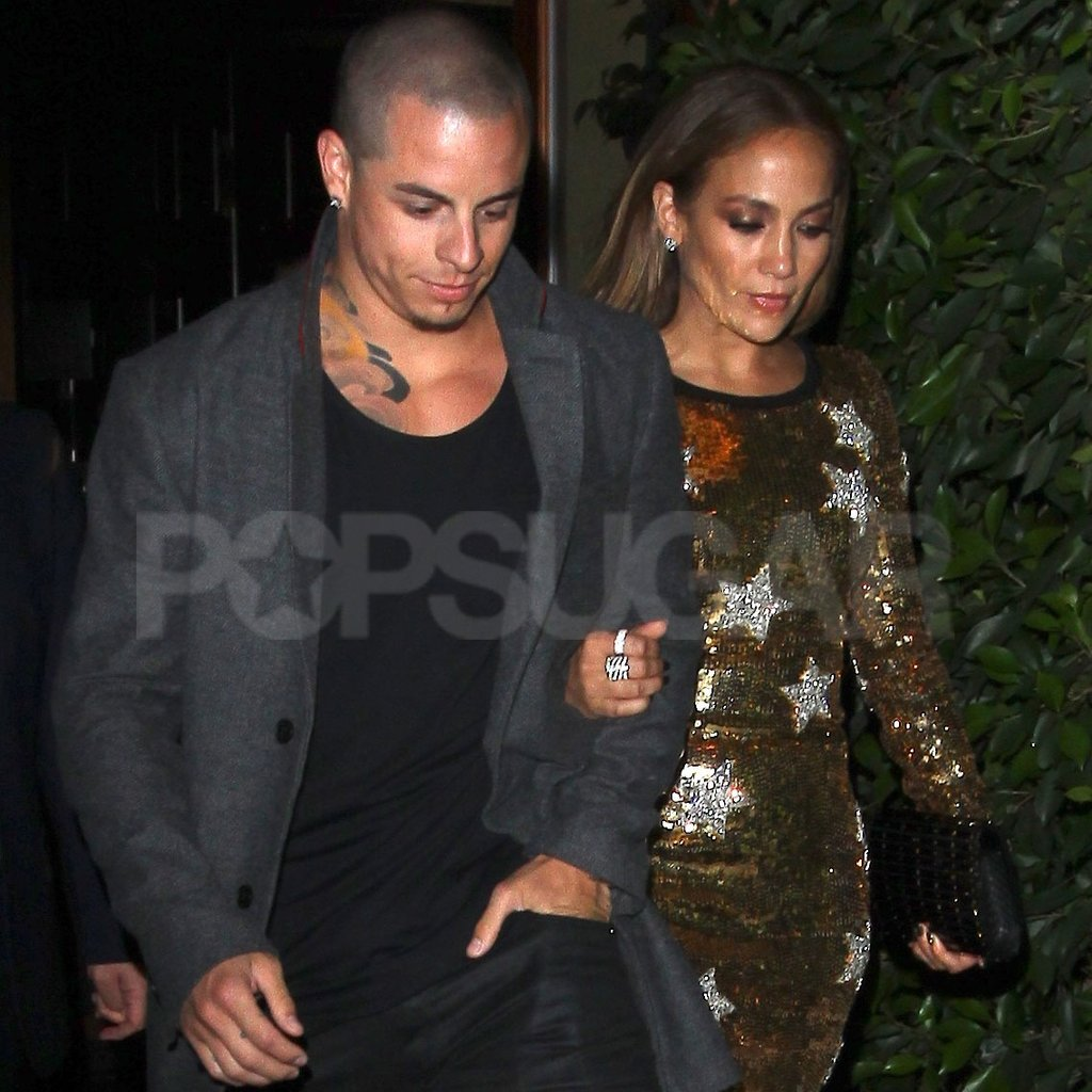 Jennifer Lopez linked arms with Casper Smart.