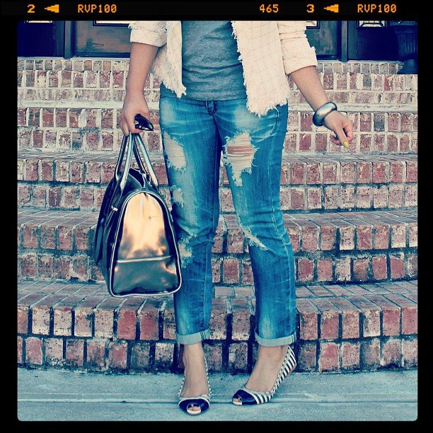 Fashionnextdoor finished a tweedy jacket and jeans with these stripey heels.