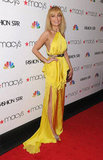 Nicole Richie got decked out for the Fashion Star premiere in a daffodil-yellow Julien Macdonald gown.