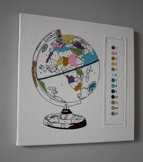 Paint-by-Number Globe Wall Art