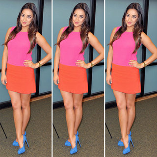 Shay Mitchell Pink and Orange Dress