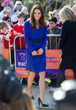 Kate Middleton in a blue Reiss number for her first public address.
