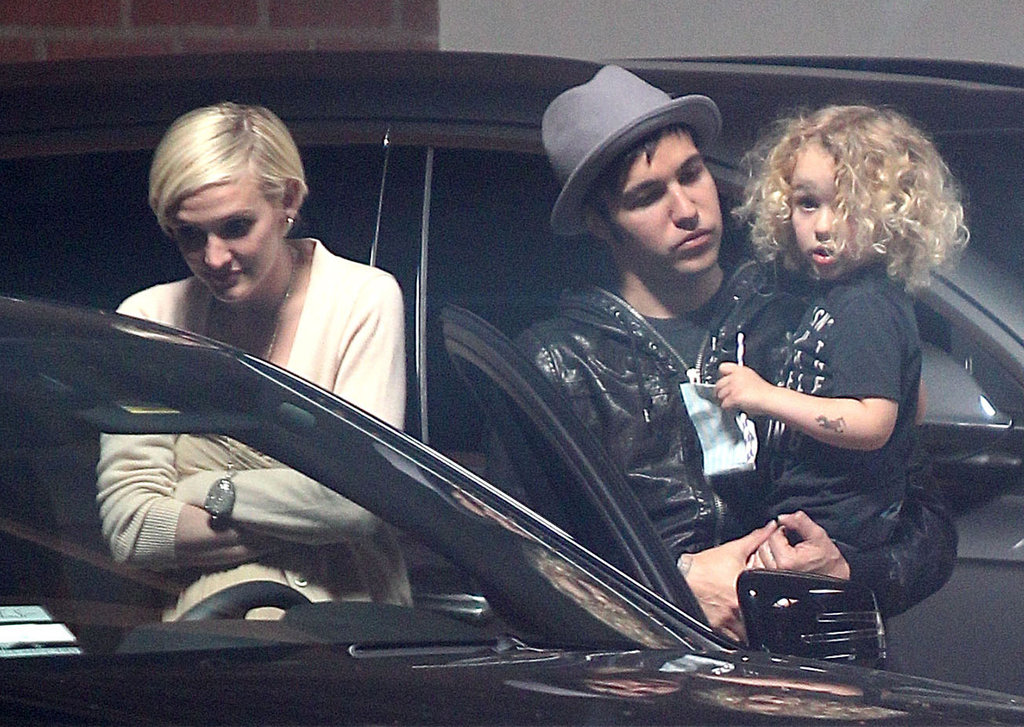 Ashlee Simpson, Pete Wentz, and their son, Bronx, at Jessica Simpson's baby shower.
