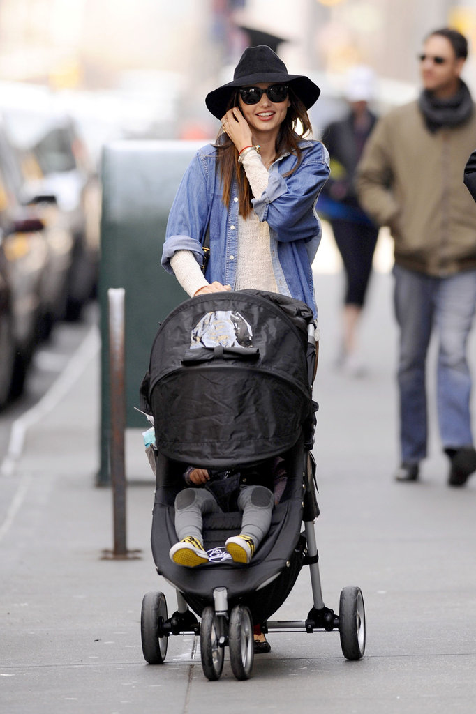 Miranda Kerr takes Flynn out for a stroll around NYC.