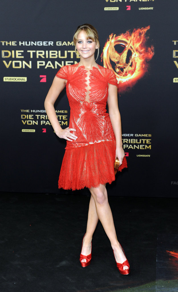Jennifer Lawrence chose a bright Marchesa dress for a Berlin appearance last week.