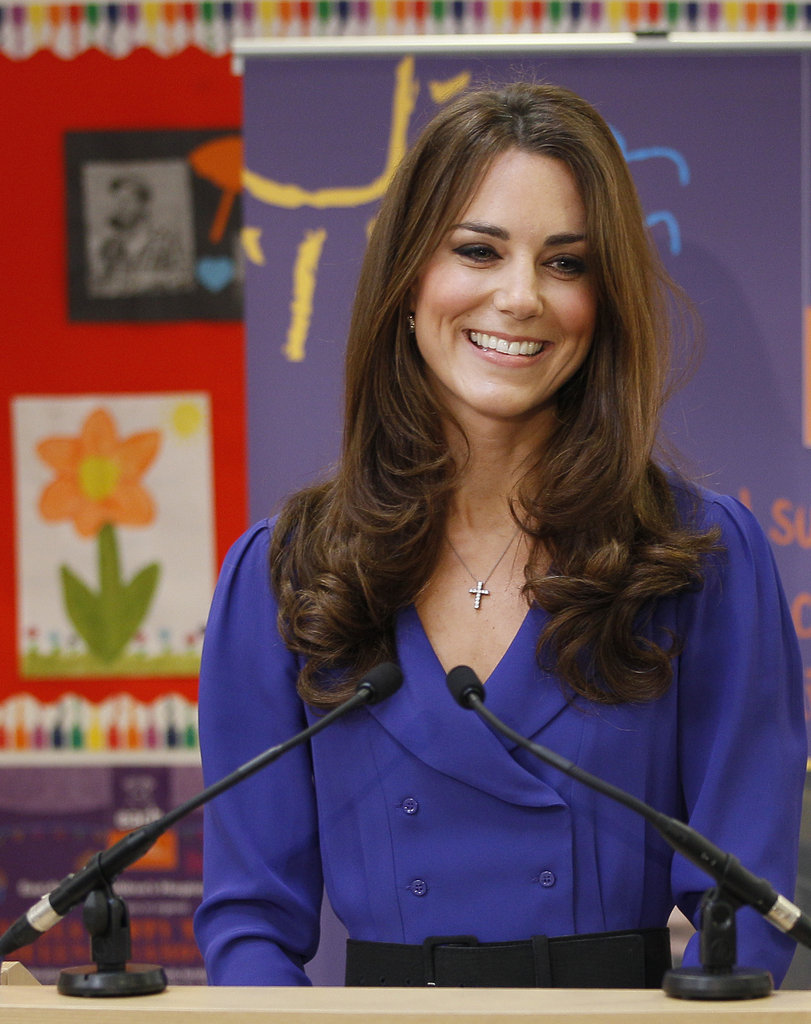 Kate smiled after giving an address at a children's hospice.