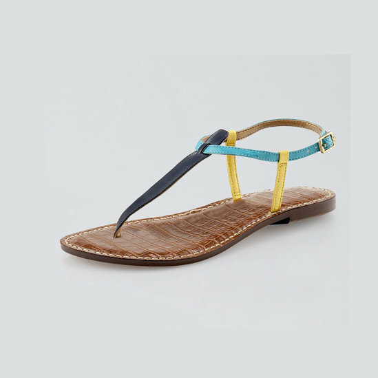 Mix this colorblock T-strap sandal with bold patterned dresses and blouses. We especially love the crocodile-embossed leather insole. Sam Edelman Gigi Colorblock Leather Thong Sandal ($65)
