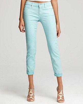 7 For All Mankind Jeans - Crop Skinny Jeans in Turquoise - Denim - Apparel - Women's - Bloomingdale's