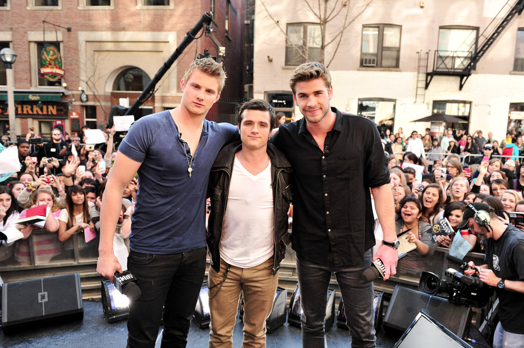 Liam Hemsworth, Josh Hutcherson, and Alexander Ludwig visited MuchMusic in Toronto.