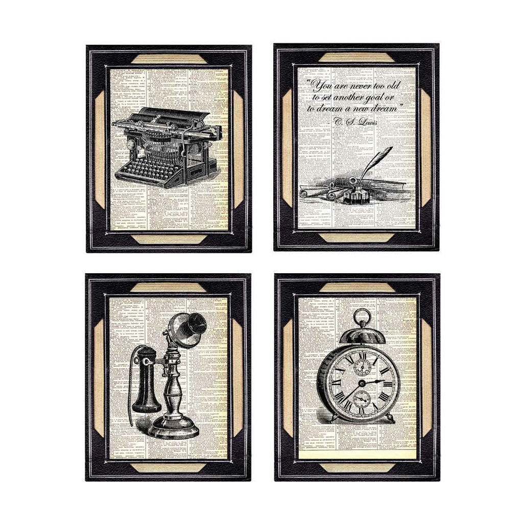 Word nerds will love the Dictionary Print ($28) picks — a vintage typewriter, a retro phone, an alarm clock, and a quote, all printed on old dictionary pages.