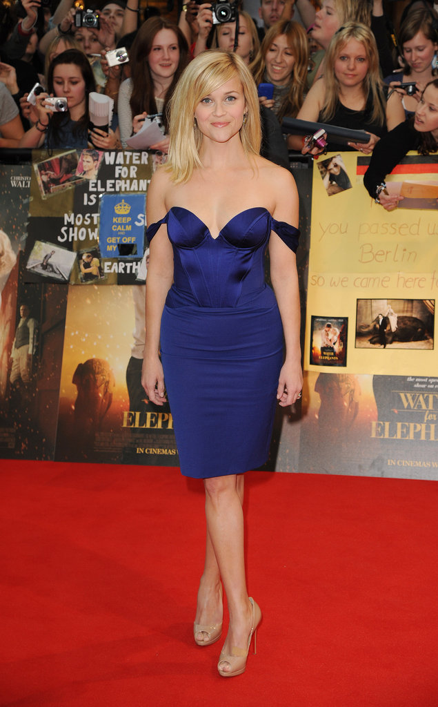 Jaws dropped when Reese showed up to the London premiere of Water For Elephants in 2011. How'd she do it? She wore a sexy, stunning cobalt-blue dress by Stella McCartney.