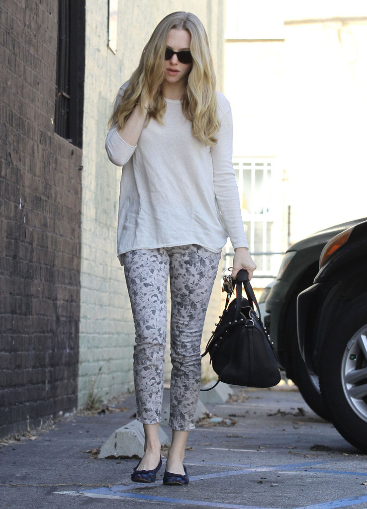 Amanda Seyfried took on the floral-denim trend in a pair of printed J Brand jeans.